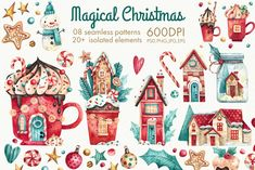 Glad to see you in my little store! I prepared for you set of high quality handpainted watercolor Christmas elements. All elements are bright and juicy Halloween Illustration, Christmas Illustration, Watercolor Illustration, Graphic Illustration, Magical Christmas, Christmas Mood, Christmas And New Year, Christmas Crafts, Whimsical Christmas