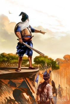 The first painting of this series is his vision of Baba Deep Singh ji, majestically leading an army of shaheeds from villages across Punjab, eager to win martyrdom by his side. Baba Deep drew a line with his Khanda and beseeched only those committed to giving their lives in defense of the Sikh faith to step over it. Five thousand Sikhs accompanied him on his journey to free Harimandir Sahib from the Afghan army that had desecrated it.