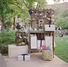 Amazing gift table at this DIY wedding! http://su.pr/2iC9fR