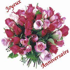 Joyeux Anniversaire Avec Bouquet De Roses Anniversaire Pinterest