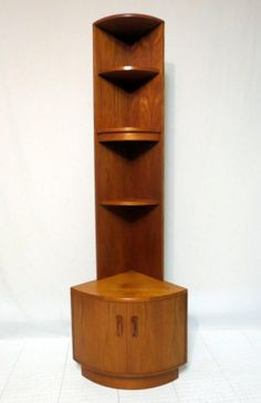 Vintage Mid Century Danish Modern Teak China Corner Cabinet Curio Display Case…