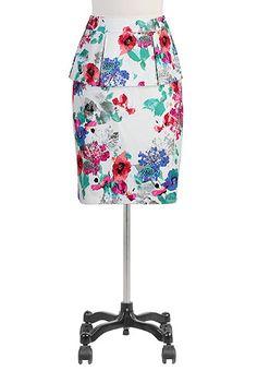 eShakti Peplum blooms pencil skirt
