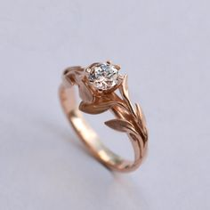 Leaves Engagement Ring No. 4 - 14K Rose Gold and Diamond engagement ring, engagement ring, leaf ring, filigree, antique, art nouveau,vintage...