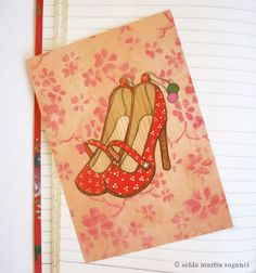"postcard ""red shoes"" (Rote Schuhe)"