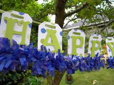 Happy Birthday Banner lime green / blue by LittlePumpkinPapers, $20.00