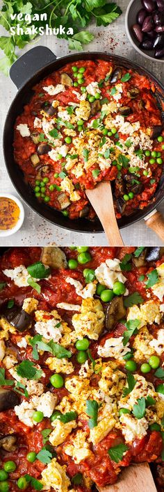 Hearty, healthy, flavorful, and easy. Vegan shakshuka with tofu, eggplant, peas, and peppers