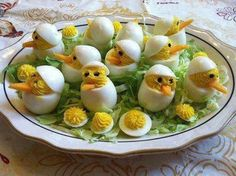 These deviled egg chicks are so cute and just in time for Easter!  Get creative!