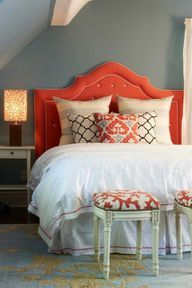 love the upholstered headboard in a fun color. Ikea sells the perfect rug to go with this.