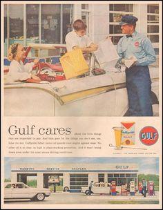Gulfpride Motor Oil | 1959  Gasoline ads - that something of the past, Marcie Fleischman