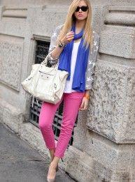 color blocking & white balenciaga bag