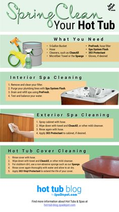 A step-by-step guide on how to spring clean your hot tub. Clean spas function b… A step-by-step guide on how to spring clean your hot tub. Clean spas function better, use less energy, last longer and are more appealing to relax in.