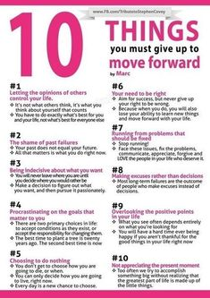 10 Things You Must Give Up To Move Forward // Useful Graphics For A Better Life