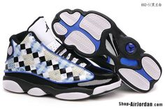 Hot Sale Best Seller Royal Air Jordan 13 Men Shoe Black White Blue For Sale  http://www.czjordanshoes.com/cz2432.html