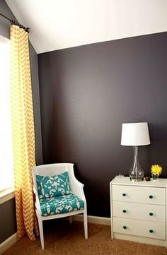 yellow. charcoal. .Idea: Paint Grandma's dresser teal, yellow curtains and Daniel's gray walls for guest room. Perfecto!