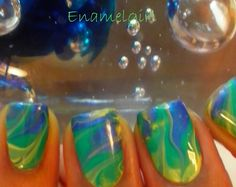 Dry Water Marble + Tutorial Make template of nails w scotch tape first and cut out vs after applying to nails