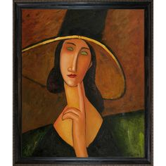 Portrait of Woman in Hat by Amedeo Modigliani Framed Original Painting