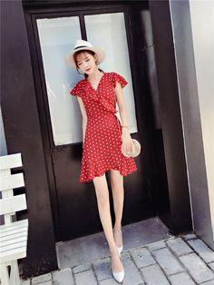 female short dress one-piece sleeveless polka dots frill hem flounced V-neck collar flare sleeve red code 9093135 Neck Collar, V Neck, Female Shorts, Beautiful Legs, Dress First, Dot Dress, No Frills, Flare, Short Dresses