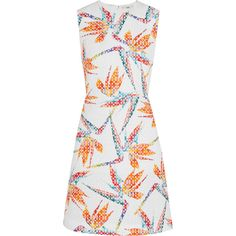 Fendi Bird of Paradise printed matelassé satin mini dress ($1,825) ❤ liked on Polyvore featuring dresses, fendi, orange, mini dress, bird dress, short floral dresses, white floral print dress and white dress