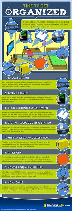 Great infographic by Bundlecity.com about using gadgets to organize your like. This has TV wall mounts, HDMI cables, TV DVD combo players, cord management and a digital music player docking station. for-the-home