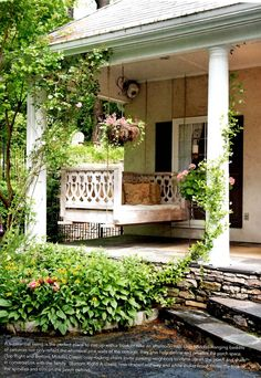 Porch Swing~The Cottage Journal Outdoor Rooms, Outdoor Gardens, Outdoor Living, Outdoor Decor, Outside Living, House With Porch, Decks And Porches, Outdoor Projects, Porch Decorating