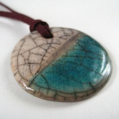 Raku pendant in jade and white | Flickr - Photo Sharing!