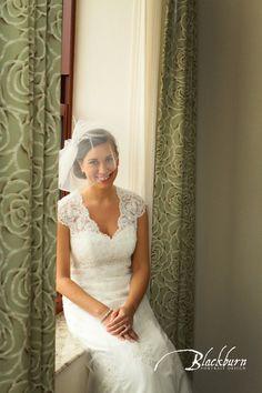 Blackburn Portrait Design Wedding and Portrait Photography www.susanblackburn.biz Vintage Wedding Photos Lace Wedding dress with V neck Birdcage veil with feathers