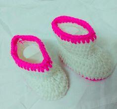 Crochet#shoe#white#pink