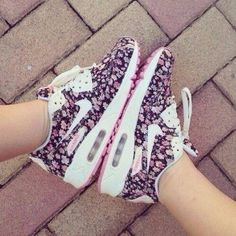 shoes nike nike airmax cute like in little great beautiful floral print nice air max shoes, pink, purple, nike, cute, shoes, girl