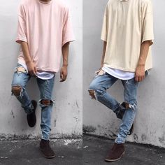 calça destroyed masculina com camiseta oversized