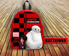 Disney Big Hero Grapic Art Custom With Name Design for School Bag Backpack for Children Small size Middle size Large size