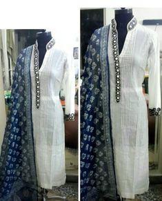 Team up your Indigo dupattas with elegant white kurta. Churidar Designs, Kurti Neck Designs, Blouse Designs, Pakistani Dresses, Indian Dresses, Indian Outfits, Indian Attire, Indian Wear, Indian Designer Wear