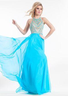 Rachel Allan 9010 Jeweled Halter Chiffon Prom Dress