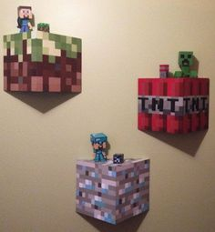 Unofficial Hand Painted Minecraft Wall Block Shelves Set Of 3 Minecraft Bedroom Decor, Minecraft Wall, Minecraft Crafts, Minecraft Stuff, Diy Minecraft Decorations, Minecraft Blocks, Minecraft Birthday Party, My New Room, Kids Bedroom