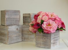wood box wood boxes woodland planter flower pot square vases wedding wooden boxes rustic chic wedding by aniamelisa on Etsy