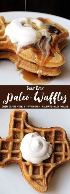 Crispy on the outside, yet light and fluffy on the inside. These waffles are paleo, gluten-free, dairy-free, and only take 15 minutes to make!