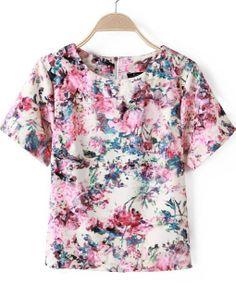 Red Short Sleeve Zipper Floral Loose T-Shirt 15.00