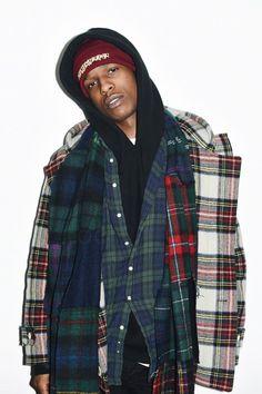 ASAP Rocky wearing Gosha Rubchinskiy AW15 Hooded Tartan Duffle Coat Multi, Gosha Rubchinskiy Embroidered Beanie