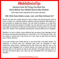 Lost your phone or have it stolen? By using software you can locate your phone, lock remotely from web and wipe all the data. Read more about mobile devices and #cybersecurity: http://www.identity-theft-scout.com/