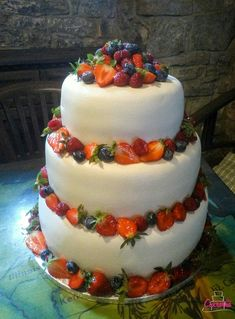 DORT SVATEBNÍ :-) vanilkový dort s karamelovým šlehačkovým krémem plněný jahodami :-) povrch dortu pravý marcipán :-) zdobeno čerstvým ovocem :-)#cukrarna #cukrarnaeliska #dortsvatebni #svatebnidort #weddingcake  #wedding  #marzipan #marzipancake Marzipan, Cake, Desserts, Food, Tailgate Desserts, Deserts, Kuchen, Essen, Postres