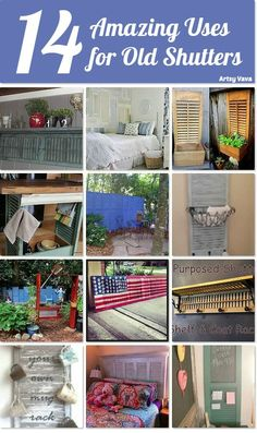 14 amazing uses for old shutters ~ I bought several at a yard sale and now I know what to do with them!