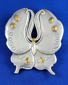 "4""L. WILLIAM SPRATLING Silver & Bronze Butterfly Pin"