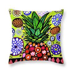25% OFF- Hawaiian Pineapple Pillow Art Print Poster of Painting by Heather Galler Hawaii Tropical Fruit Beach Coastal Kitchen Decor Gift
