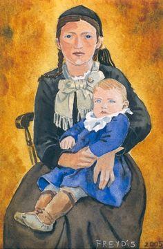 Freydís Kristjánsdóttir, watercolour. The woman is wearing peysuföt, an Icelandic national costume.