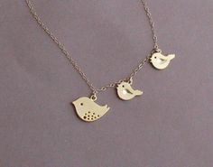 Mama & baby birds necklace