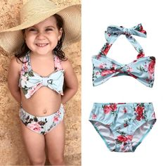 8fee3a5594fe1 2017 Floral Toddler Kids Girls Bikini Swimwear Set Bathing Swimming Suit  Swimsuit Two Pieces Tankini Summer Girl Split Beachwear -