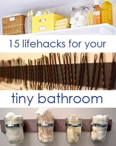 15 Lifehacks For Your Tiny Bathroom.    You won't want to do all of these at once, but if you pick one or two of them, you might be surprised at how much your life improves. Or just feel proud that you did something productive. Bathroom Organization, Bathroom Storage, Organization Hacks, Small Bathroom, Tiny Bathrooms, Bathroom Cabinets, Bathroom Ideas, New York City Apartment, Home Reno