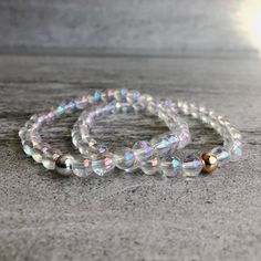 Quartz Crystal Bracelet | Stretch Beaded Bracelet | Genuine Crystal Mala Bracelet