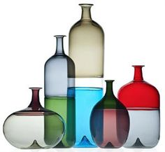The original collection have been added to with these five new pieces. A series of bottles that are so perfect in balance, colour and composition, it seemed impossible that they could be improved upon. We stand corrected. Wirkkala excells with form but here it is shown he is also a master with colour.