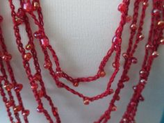 BEADED CROCHET NECKLACE  Clear Maroon Beads by QuackyQuilts