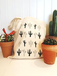Wild Cactus Tote // Canvas Bag Cactus Shopper by TheNativeState
